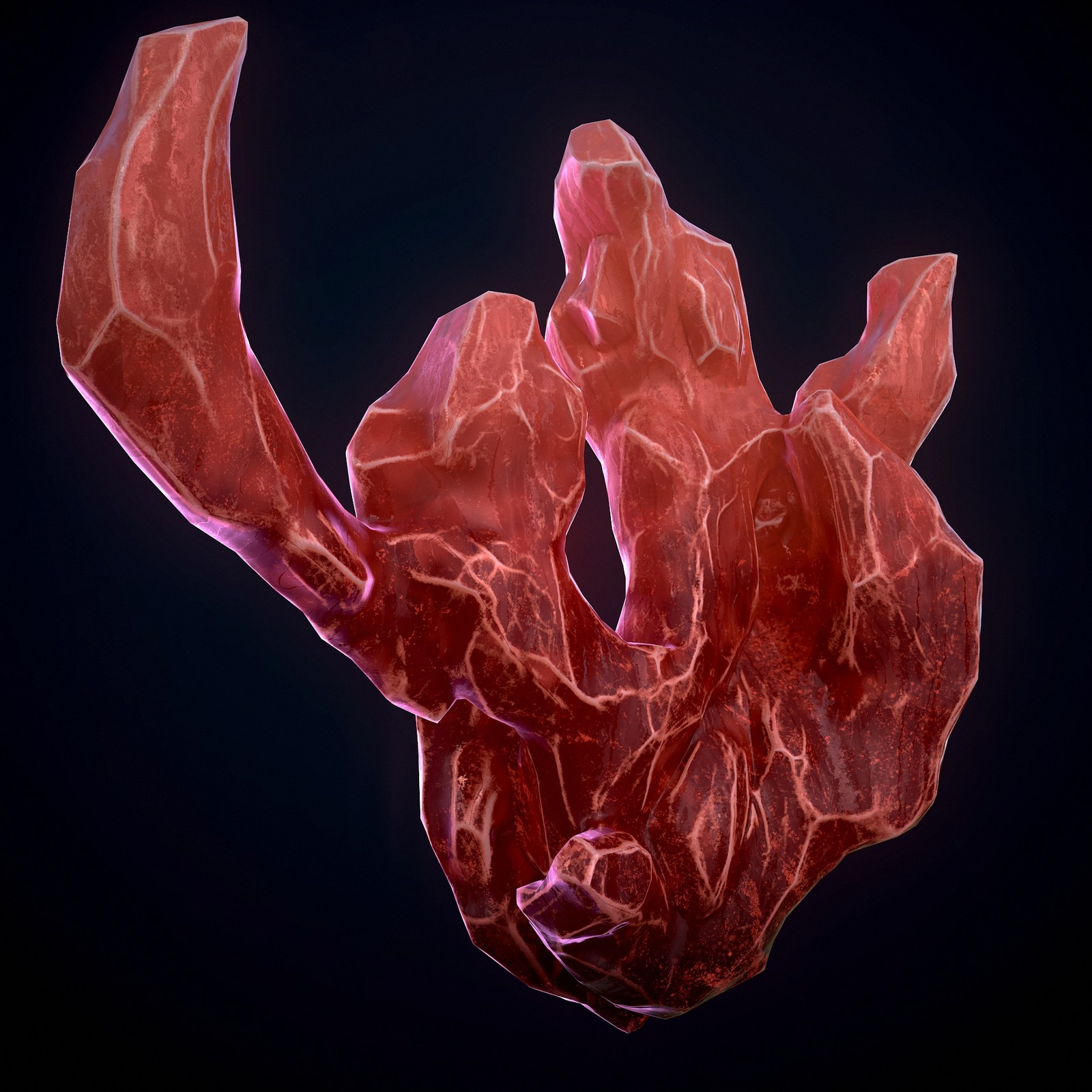 Fantasy red Crystals PBR game asset VR / AR / low-poly 3D model