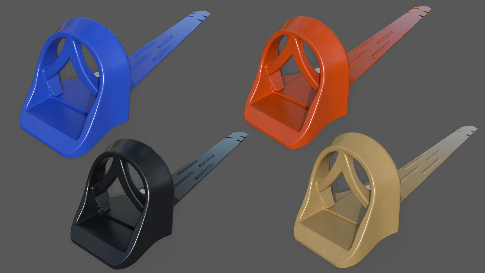 3D renders of various color options for powder coating in order to match customer roof types and colors.