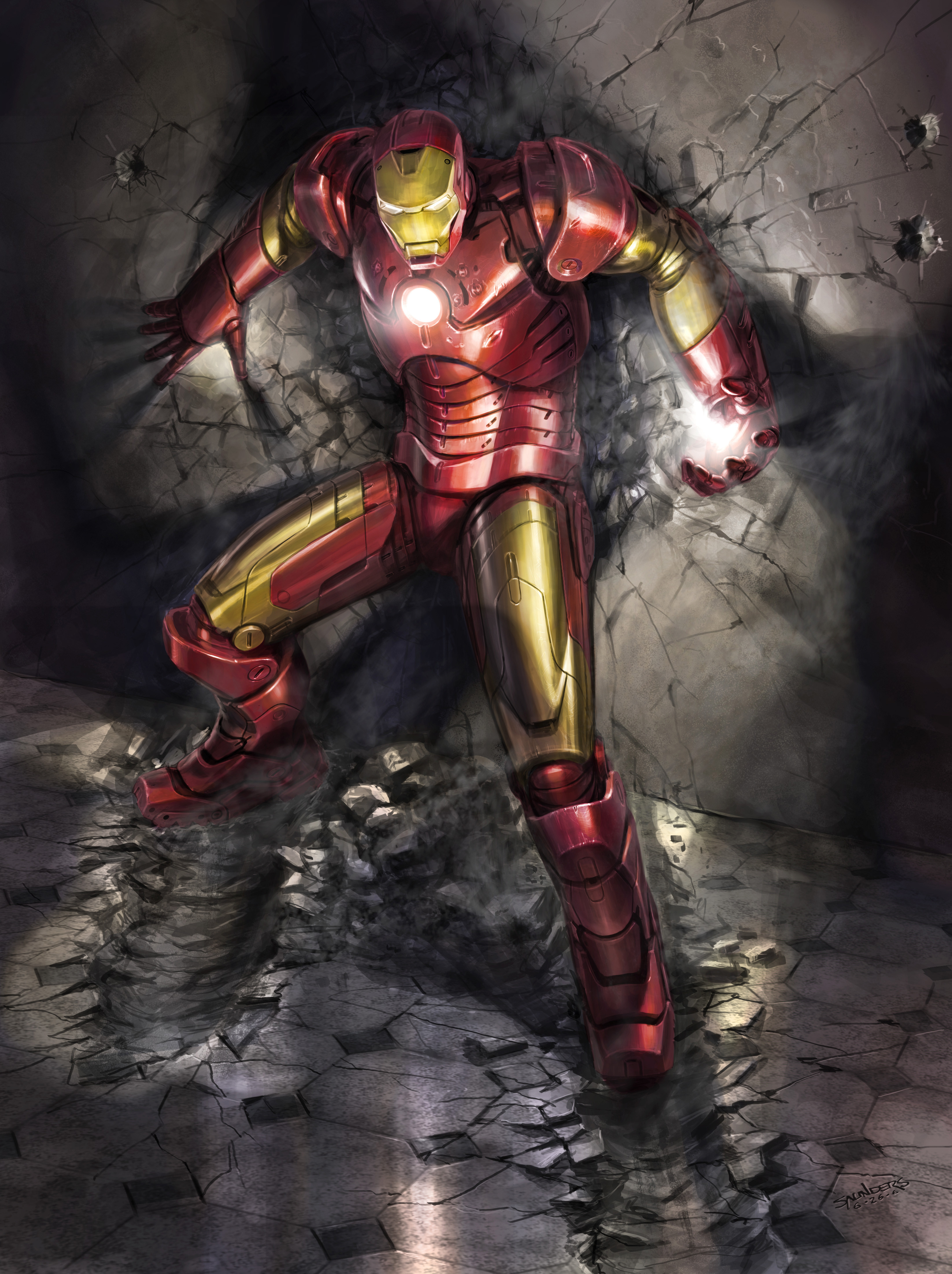 An early image showing how the suit plates would flex, particularly around the problematic chest/shoulder area.