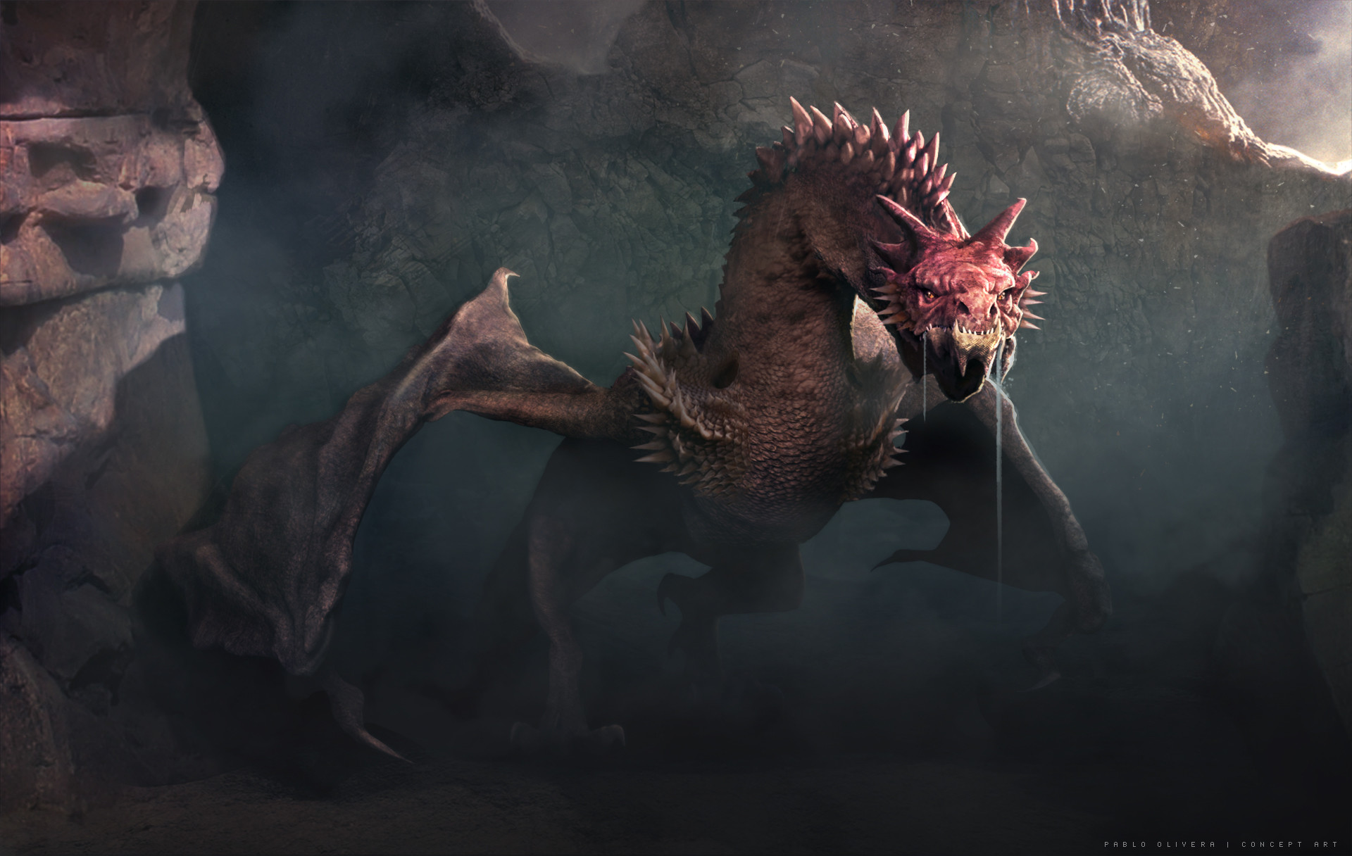 Pablo olivera dragon concept color rozado caminando frente final