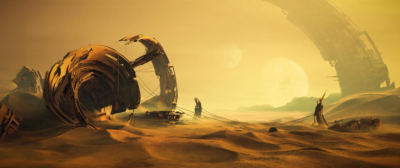 Desert wreckage sci-fi concept