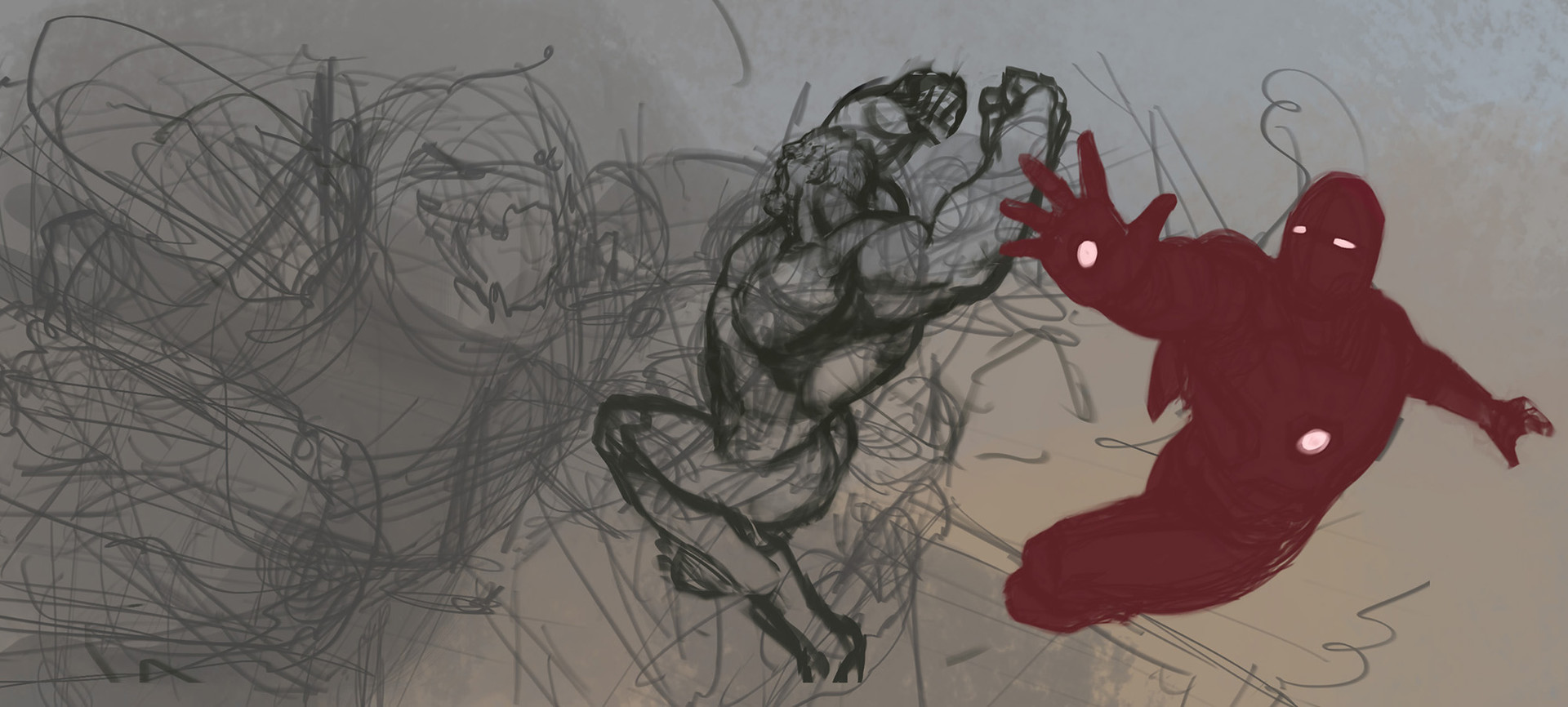 Initial scribbly sketch to lay out the composition.