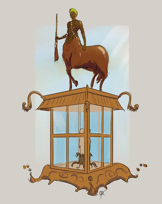 Jan deerbard krycinski 2018 03 27 a centaur appears on top of a glass lighthouse it has escaped from the dream of a somali countess