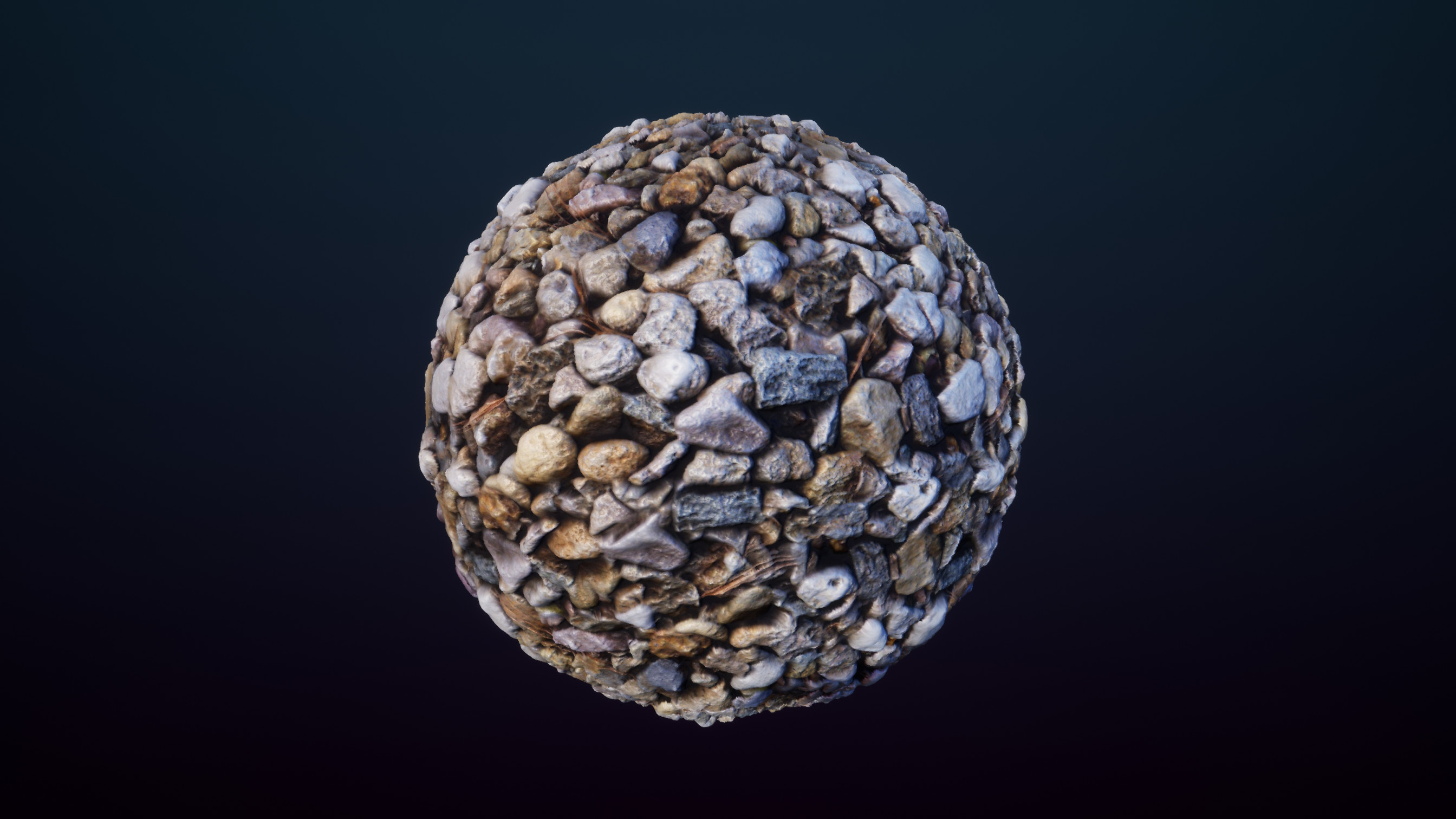 Finished product on a high-poly material sphere