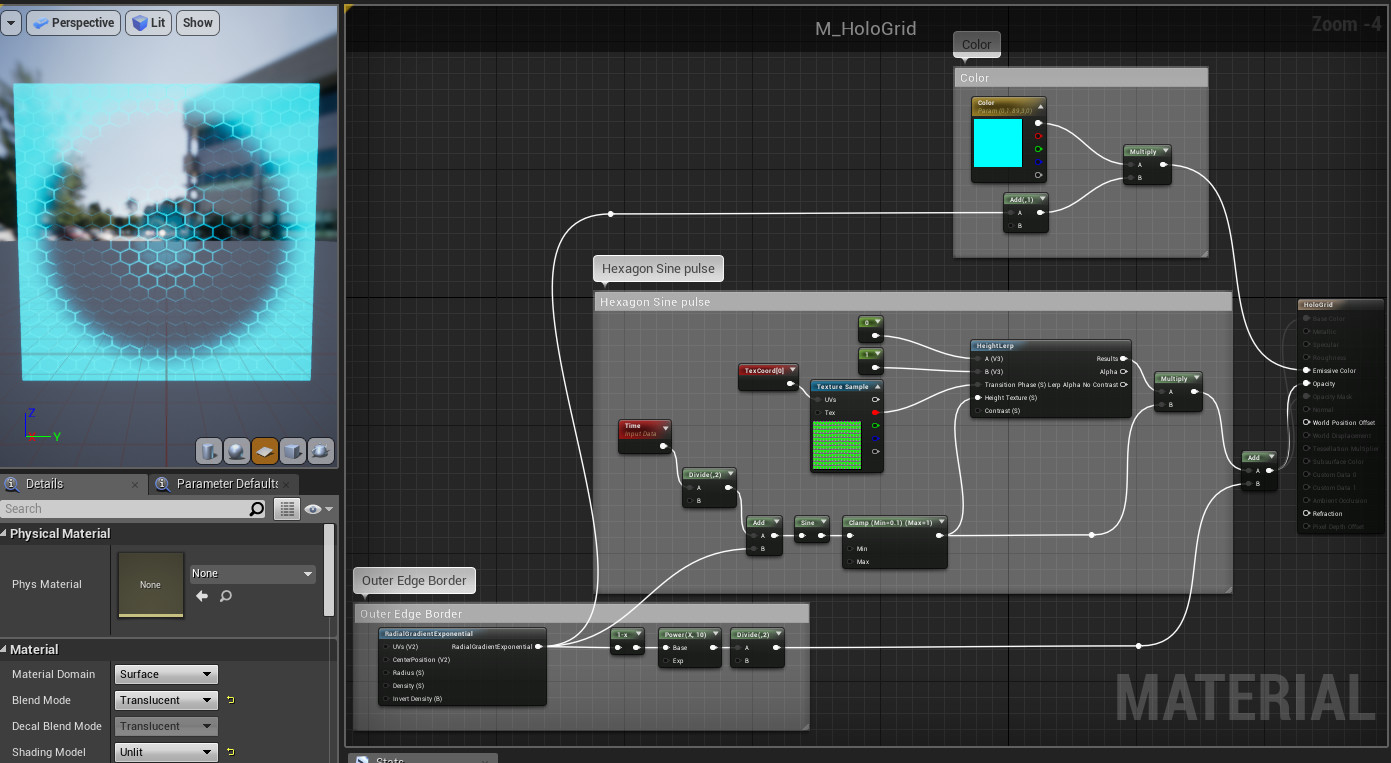 This is what the organized material graph looks like in-editor. It is light-weight in performance, so there is no significant impact if the shield covers most of the screen, the renderer would not have an issue performance-wise drawing this over others.