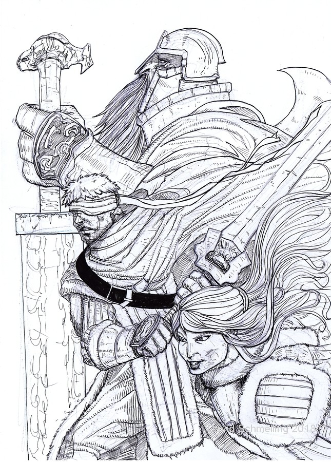 Concept Cover of Forlorn Knights, adventure in the Arctic Plains (inks)