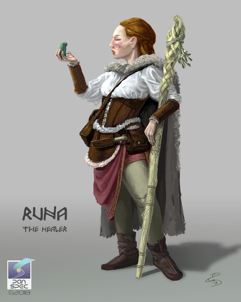 Runa, the Healer  A pariah of Thorvald, Runa lives on the outskirts, trading midwifery, herbalism and herself to make a living, not to mention her penchant for practicing rune magic.