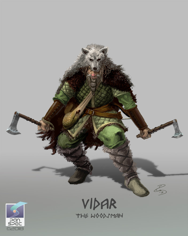 Vidar the Woodsman.  A man of the wilds travelling from one side of the Vale of Odin to the other, living of the land and the proceeds of his trapping. The game is  leaving the Vale of Odin, and life has become much harder for him.