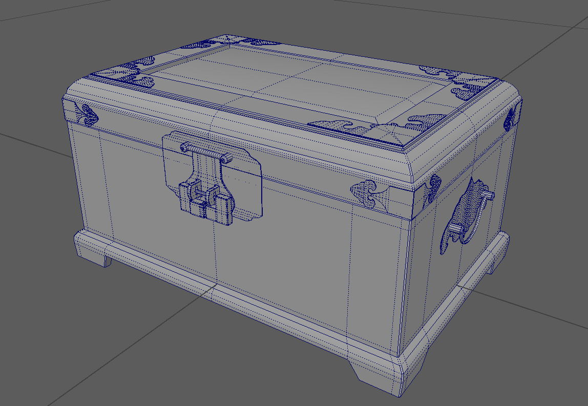 Jewelry box's first iteration. We found the mesh to be too high poly and so simplified it to the version below. Why not use normals? They were found to not translate well in VR.
