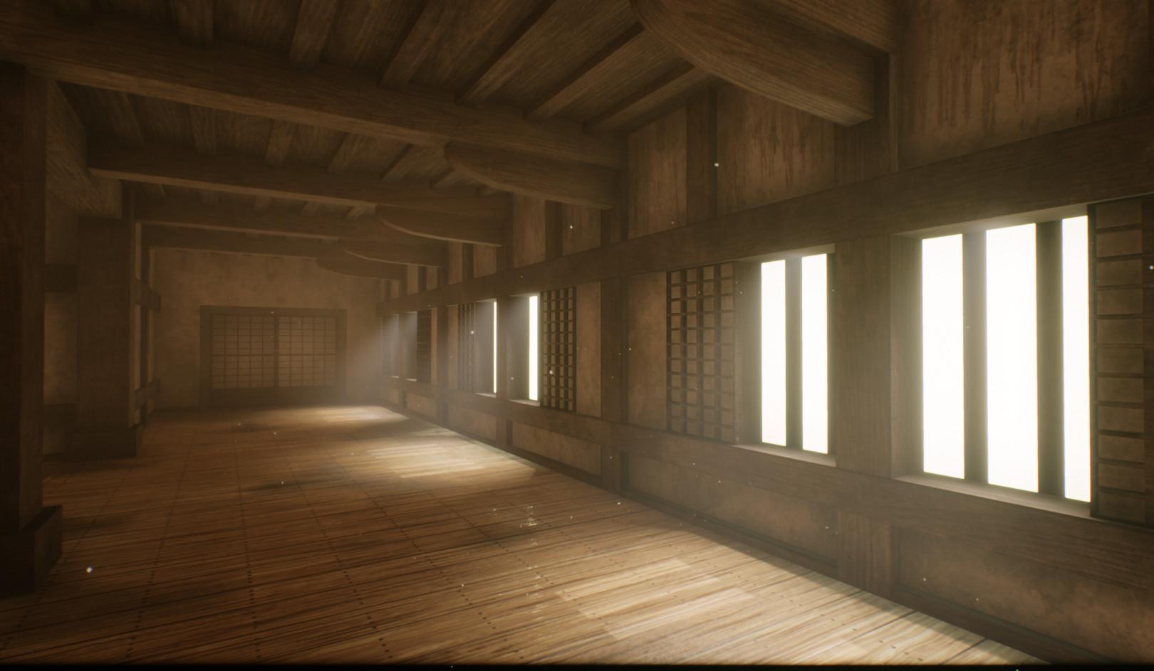 Artstation Japanese Castle Hallway Patrick Kercher