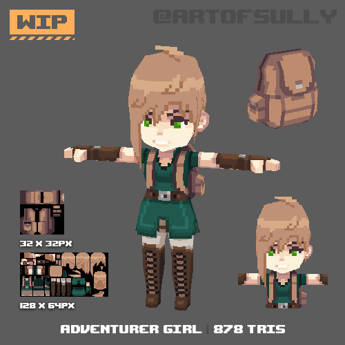 3D Pixel-Art Adventurer Girl (WIP)