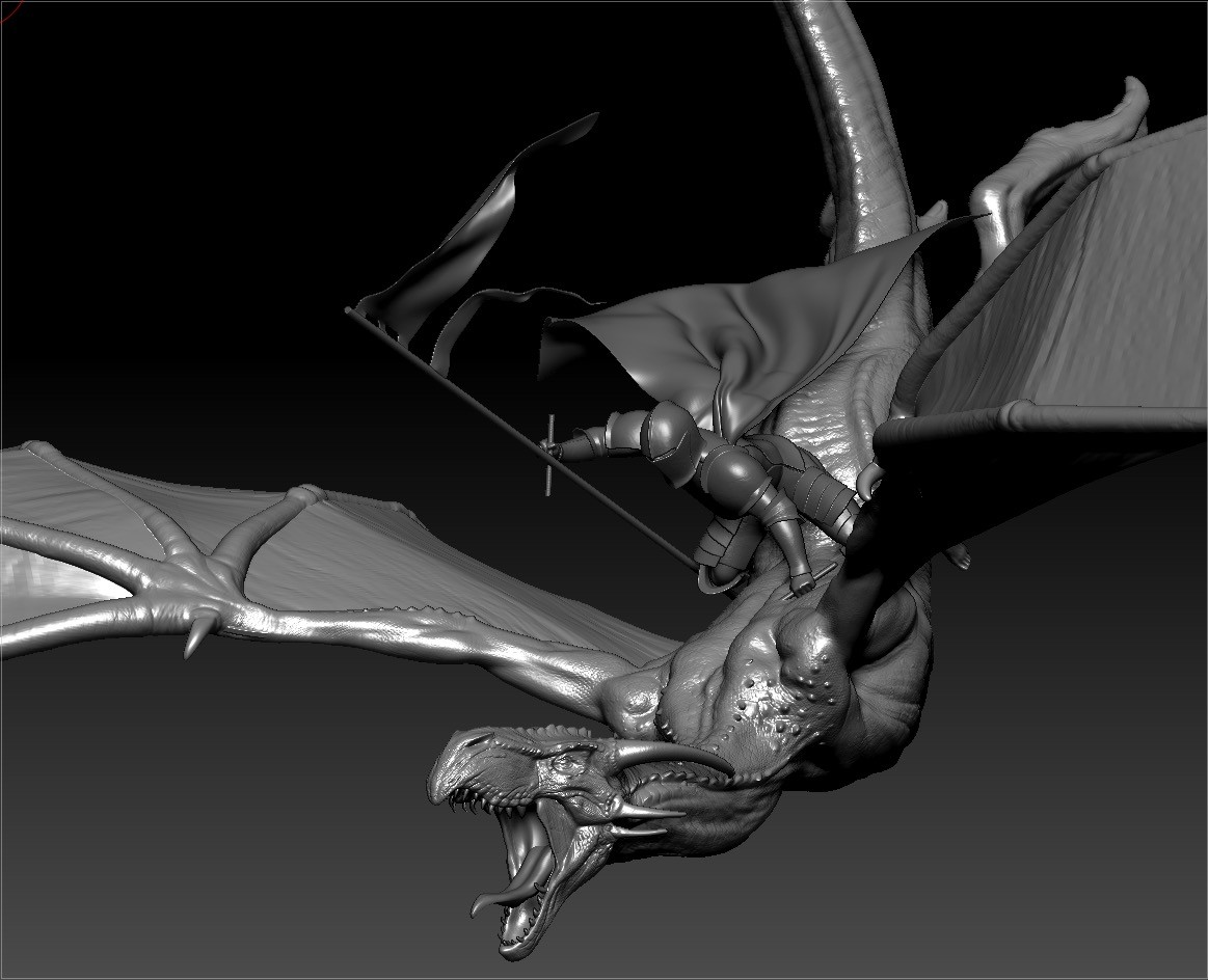 Knight 2 + dragon 2 posed in Zbrush
