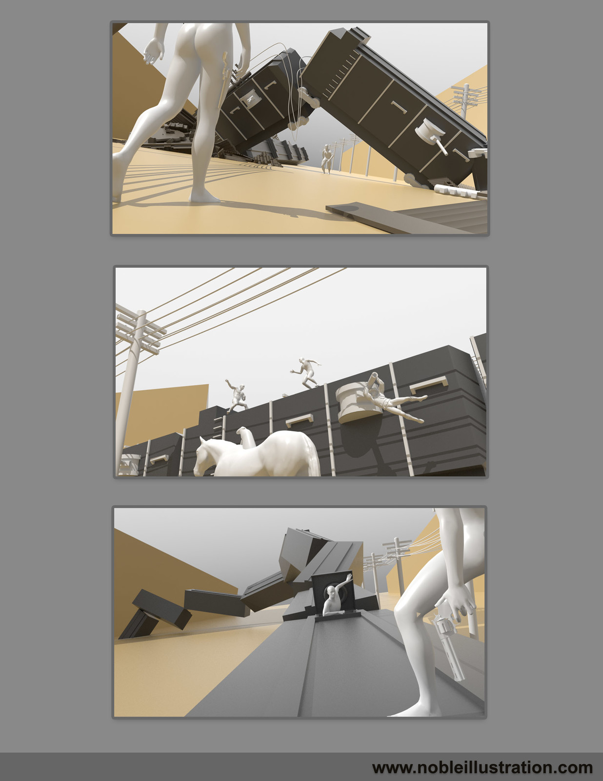 3D Block outs using MODO and DAZ Studio: This process helps me develop a more realistic perspective and lighting.  I might work over top of these Renders or just refer to them as I work.  This stage can be very helpful.