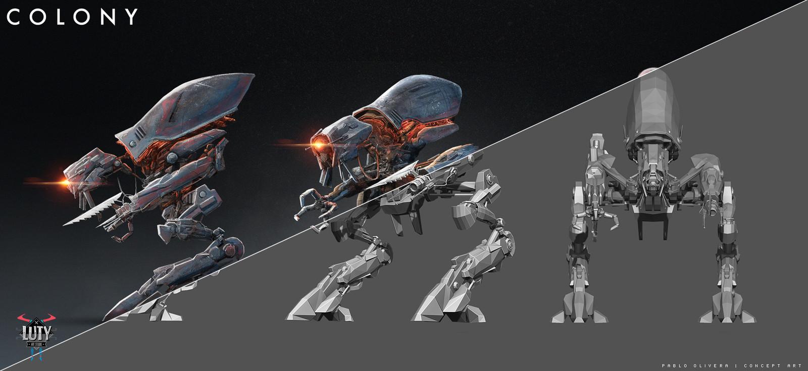 Concept previs ( Zbrush model + photoshop textures)