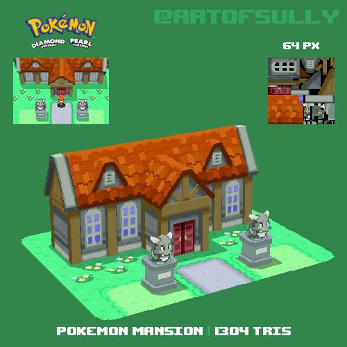 3D Pixel-Art Pokemon Mansion (Pokemon Diamond/Pearl Fanart)