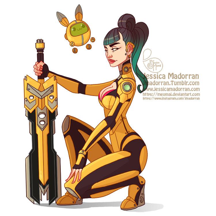 Jessica madorran character design tech warrior bunny 2018 artstation