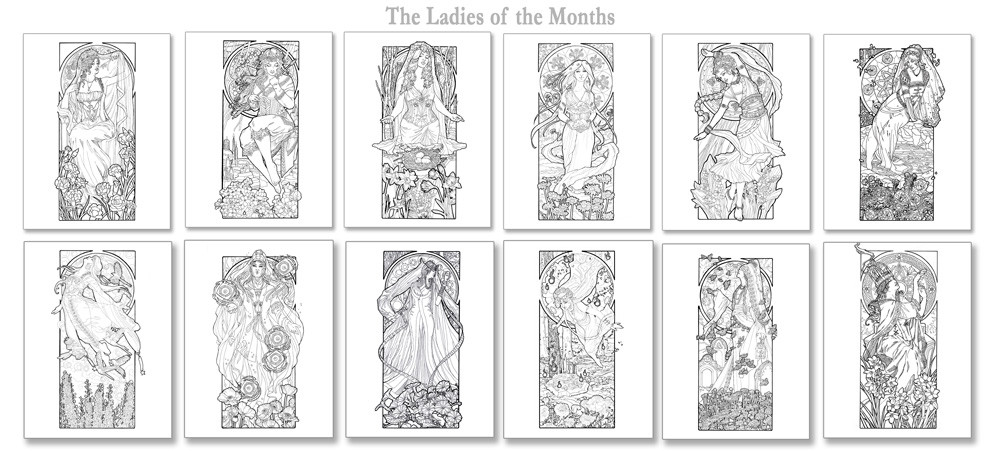 - ArtStation - Ladies Of The Months Coloring Book, Angela Sasser