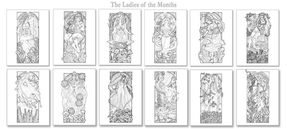 ArtStation - Ladies of the Months Coloring Book, Angela Sasser