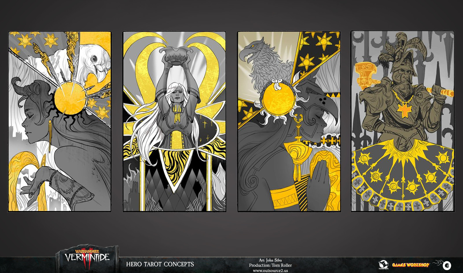 In our love of art-deco we wandered off into ideas that were too abstract for the Hero card. When the project's Director Anders De Geer suggested we play with the imagery of Emperor Karl Franz, the winner was clear.