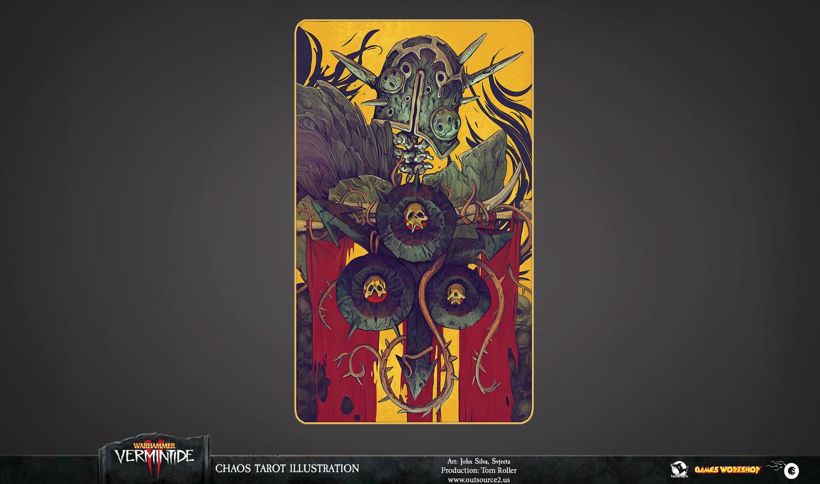 The illustration uses the Chaos symbols heavily.