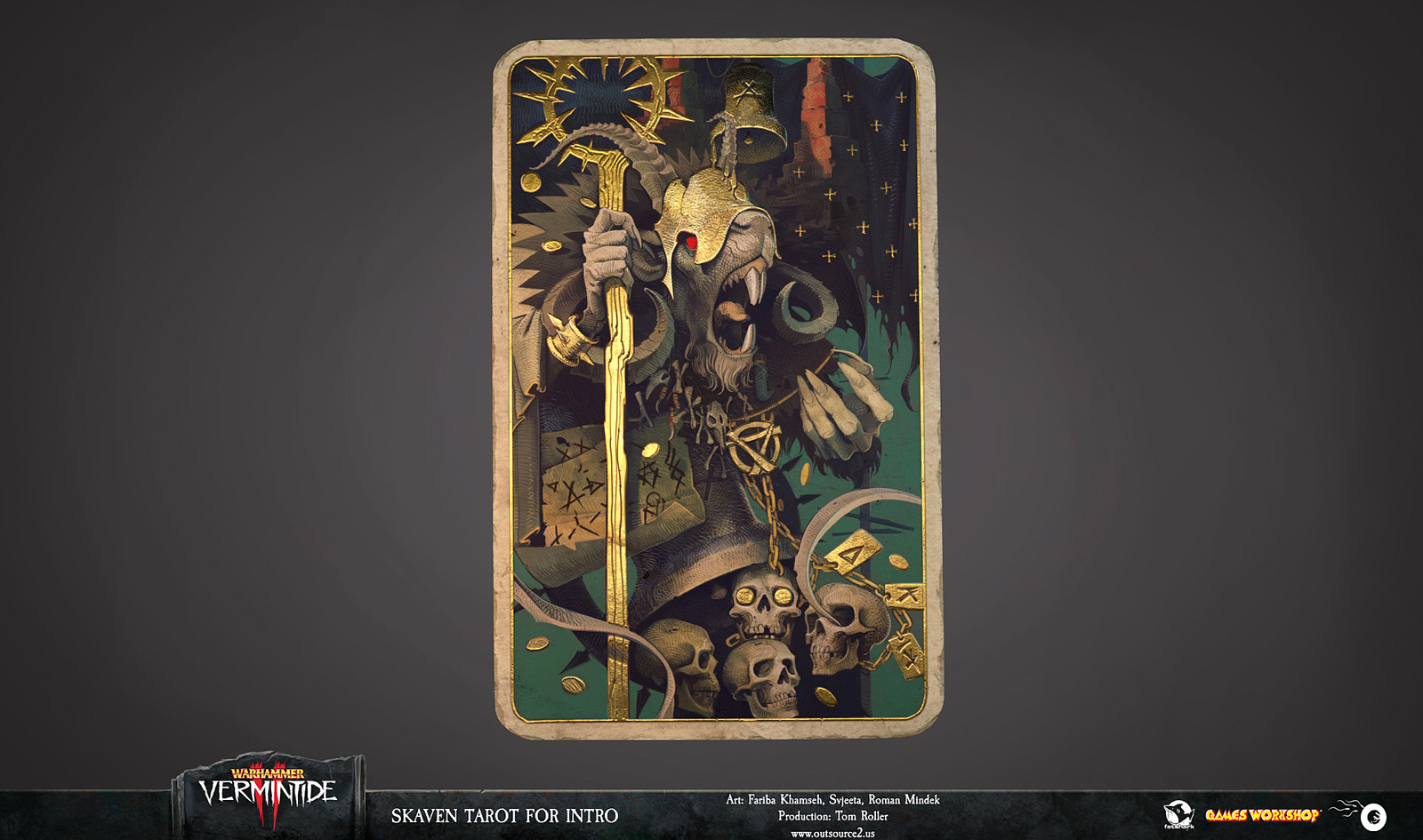 The Tarots of Warhammer Vermintide II CG intro combine illustration, metallic material pass and a card base with proper wear and tear.