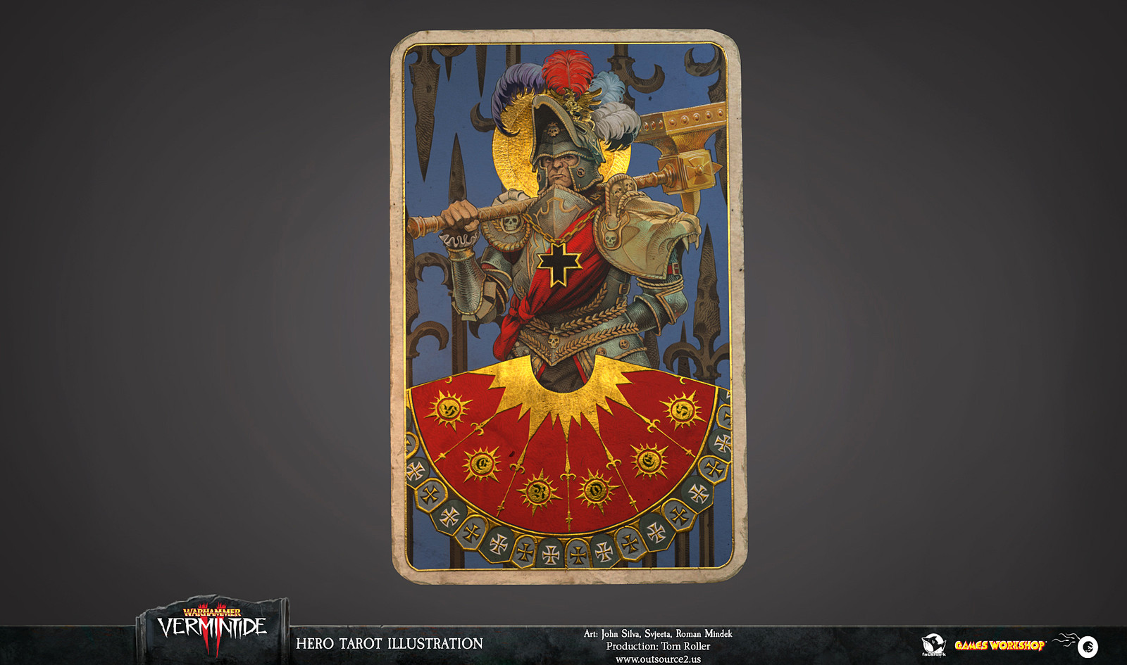 The metallic elements of the tarot give it extra flair in CG cut-scene for Warhammer Vermintide II.