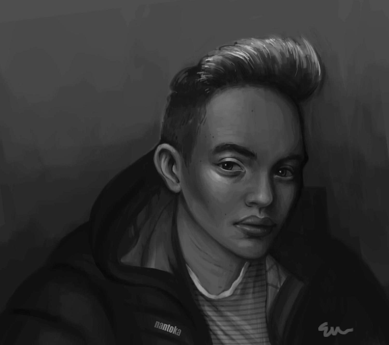 Portrait of my friend for some palate cleansing painting and playing with values!