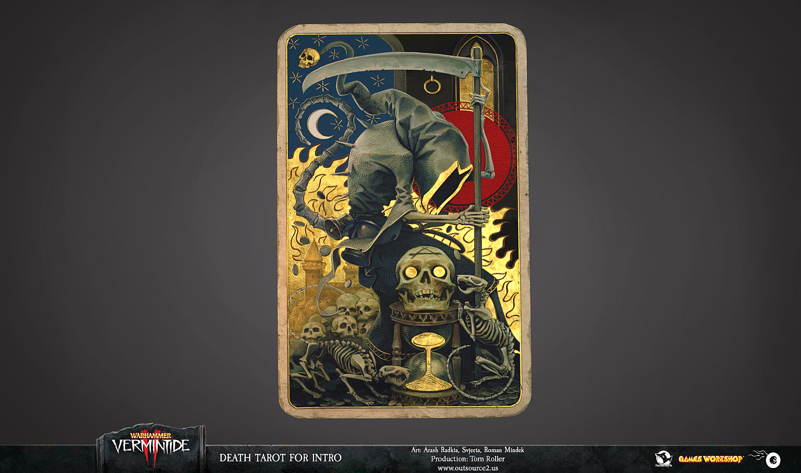 This is the first time we show the Death Tarot from CG intro of Warhammer Vermintide II in its entirety. The card is partially obscured in the intro by the narrator's thumb.