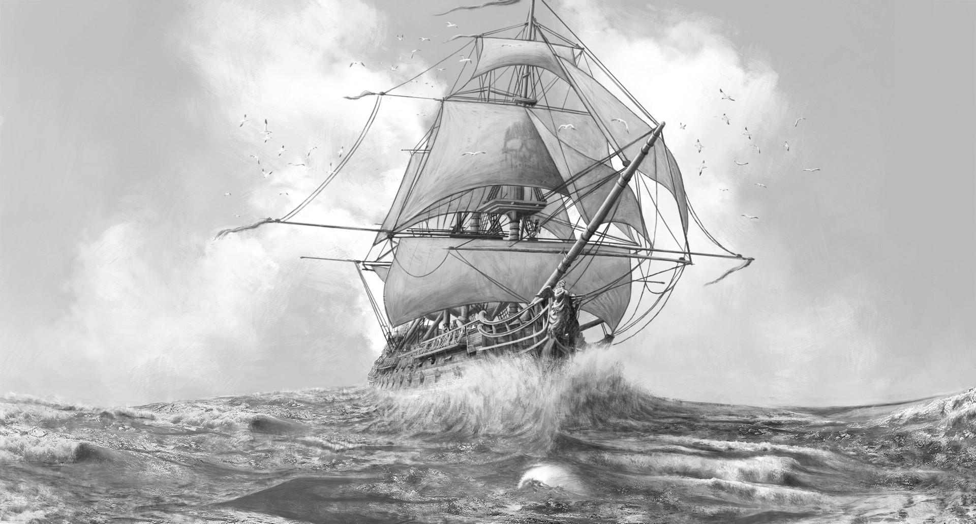 Martin seidl fancy pirate ship black and white mindre artstation