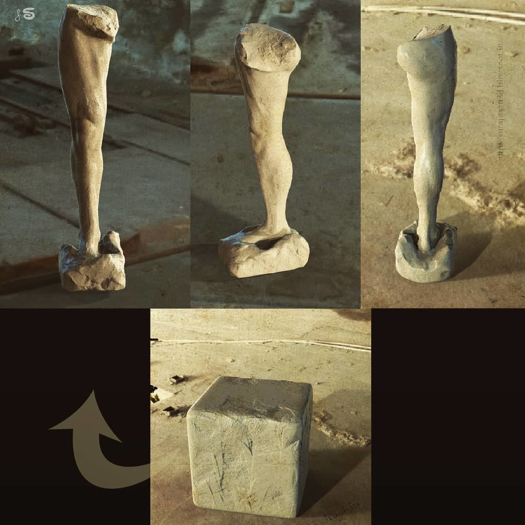 #quicksculpt #anatomystudy   Human leg blocking from a cube. ... My free time quick digital sculpt.  Wish to share  :)