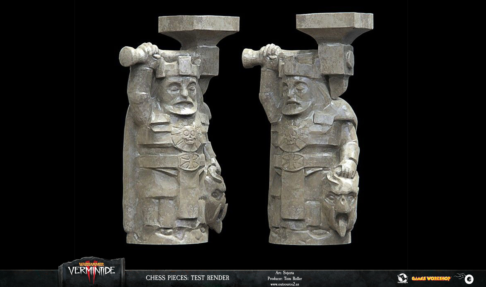 For the final statuettes we decided to go after a stone material rather than ivory.
