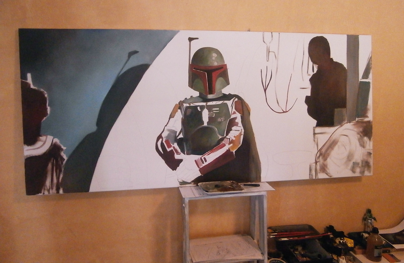 Pablo olivera boba fett oil painting canvas 02