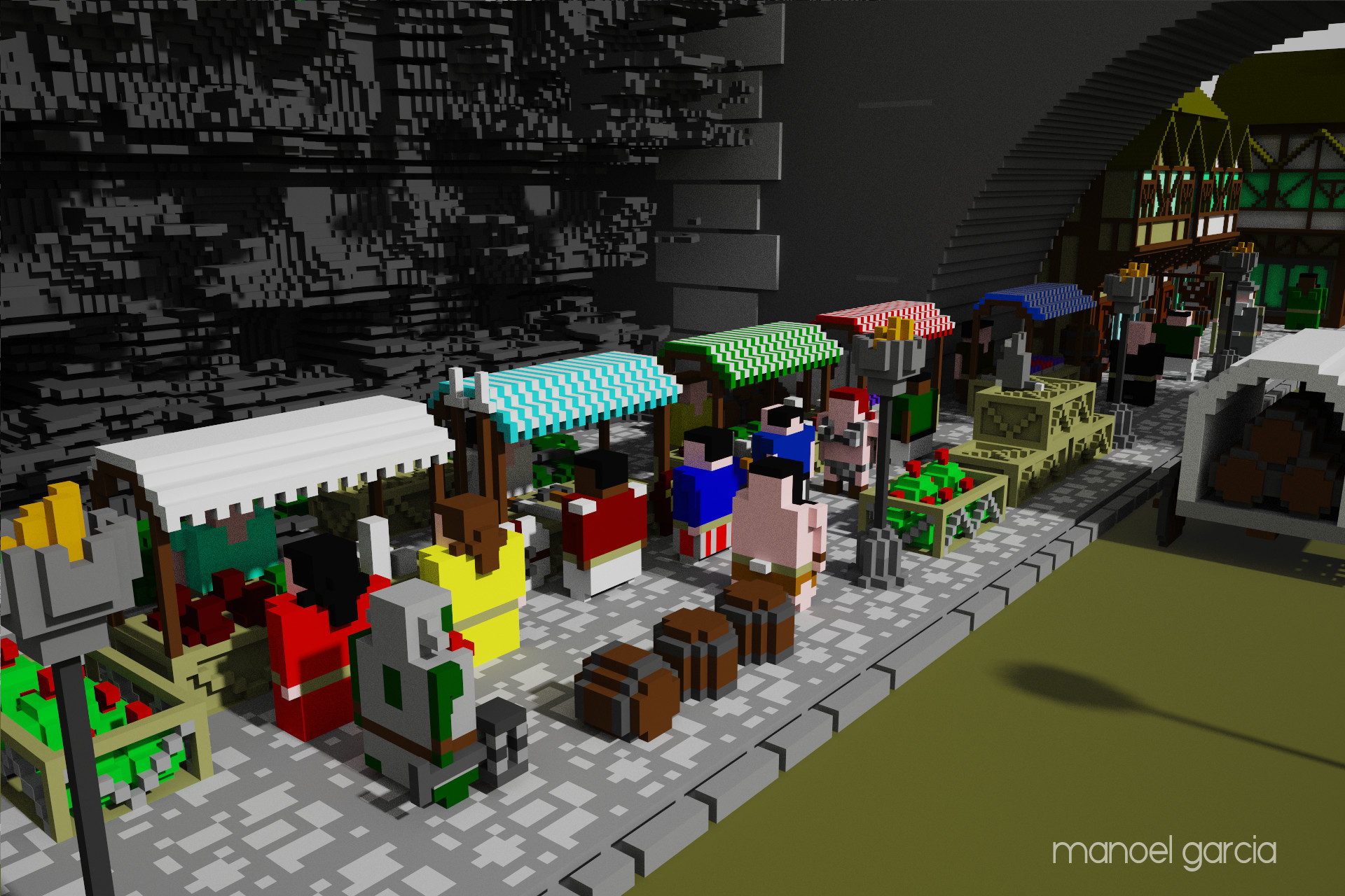 Market view with a lot of chars tributes from movies and games