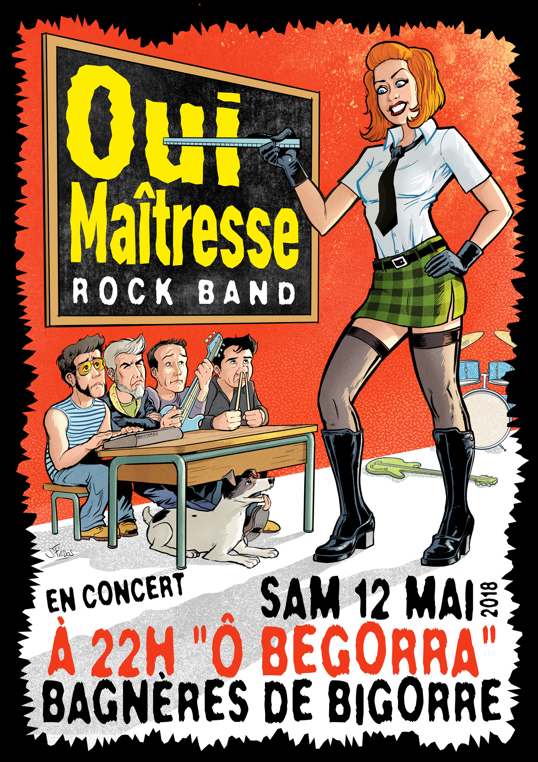 Serge fiedos oui maitresse rock concert poster by serge fiedos