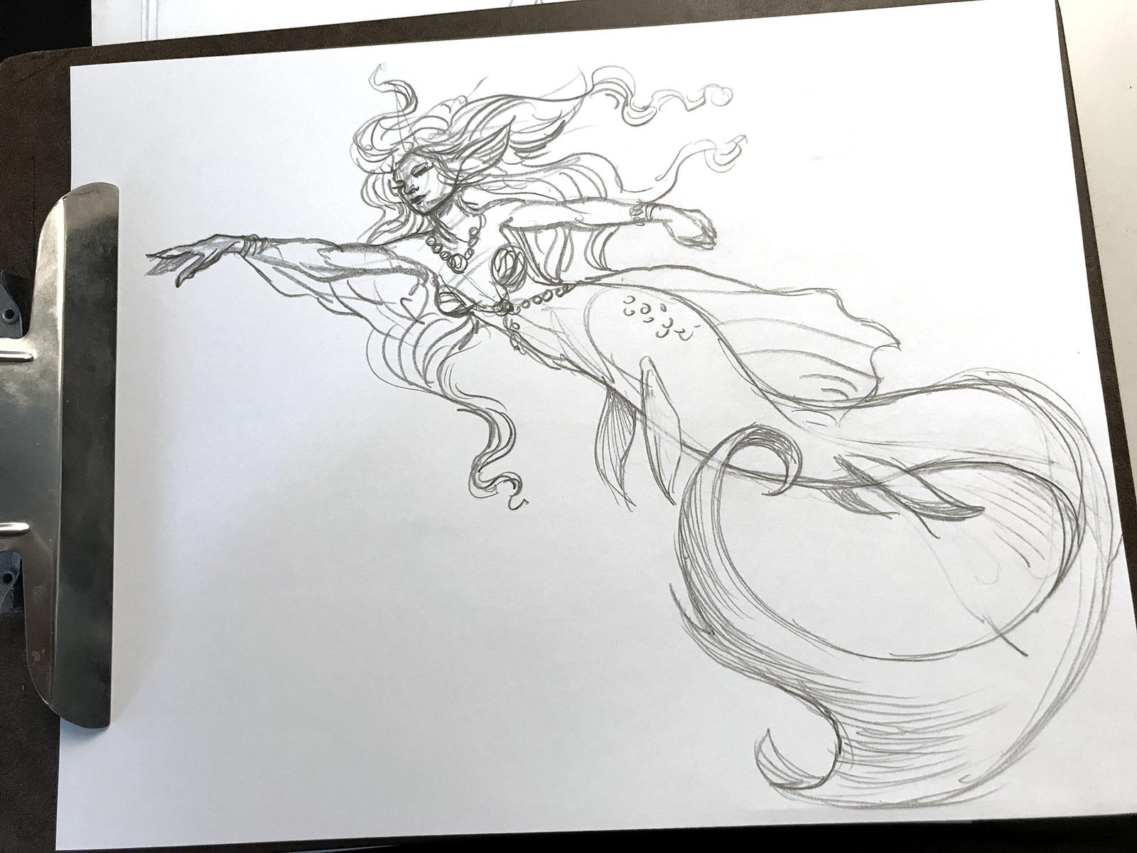 Blue Acara mermaid sketch