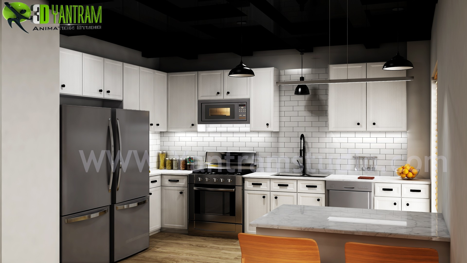 ArtStation - Modern Small Kitchen Design Ideas by Yantram 3d ...