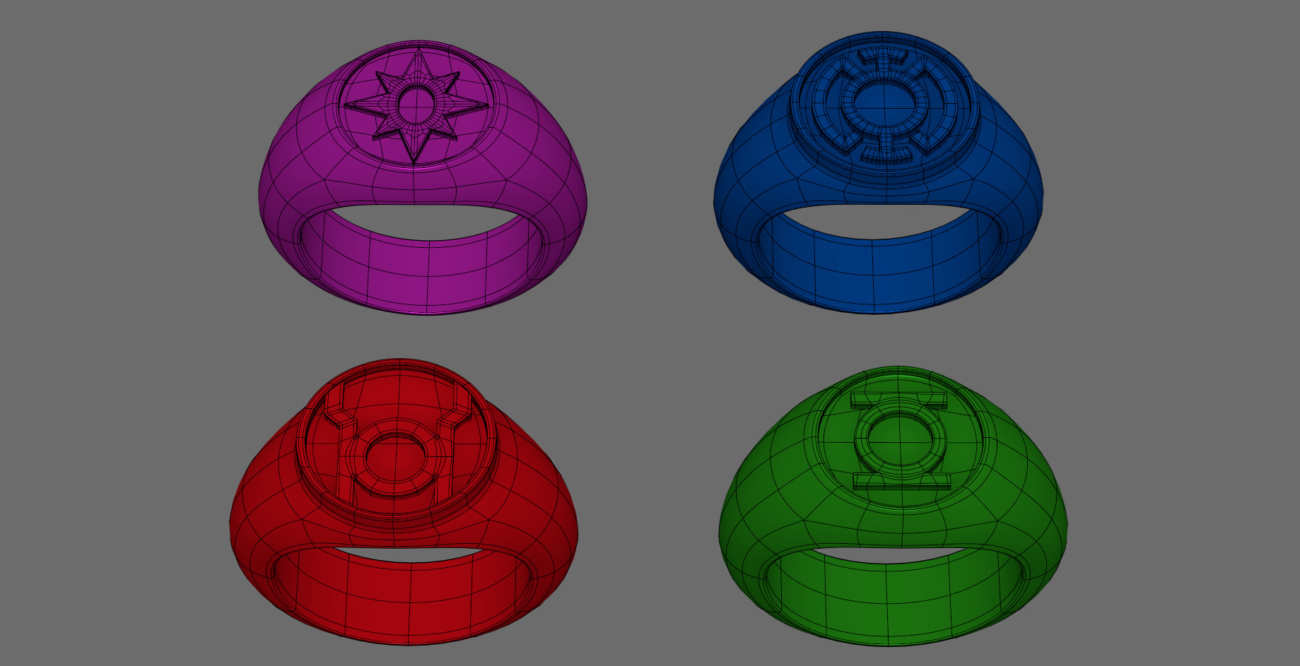 Wireframe on shaded Power Rings from Green Lantern: The Animated Series