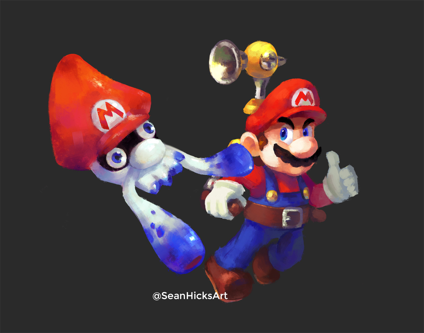 "A painting of Mario and his ""squid"" form. The squid form was based off of the Gooper Blooper: a boss from the game, Super Mario Sunshine. I tried to make sure the theme or references of the game stayed intact for the crossover."