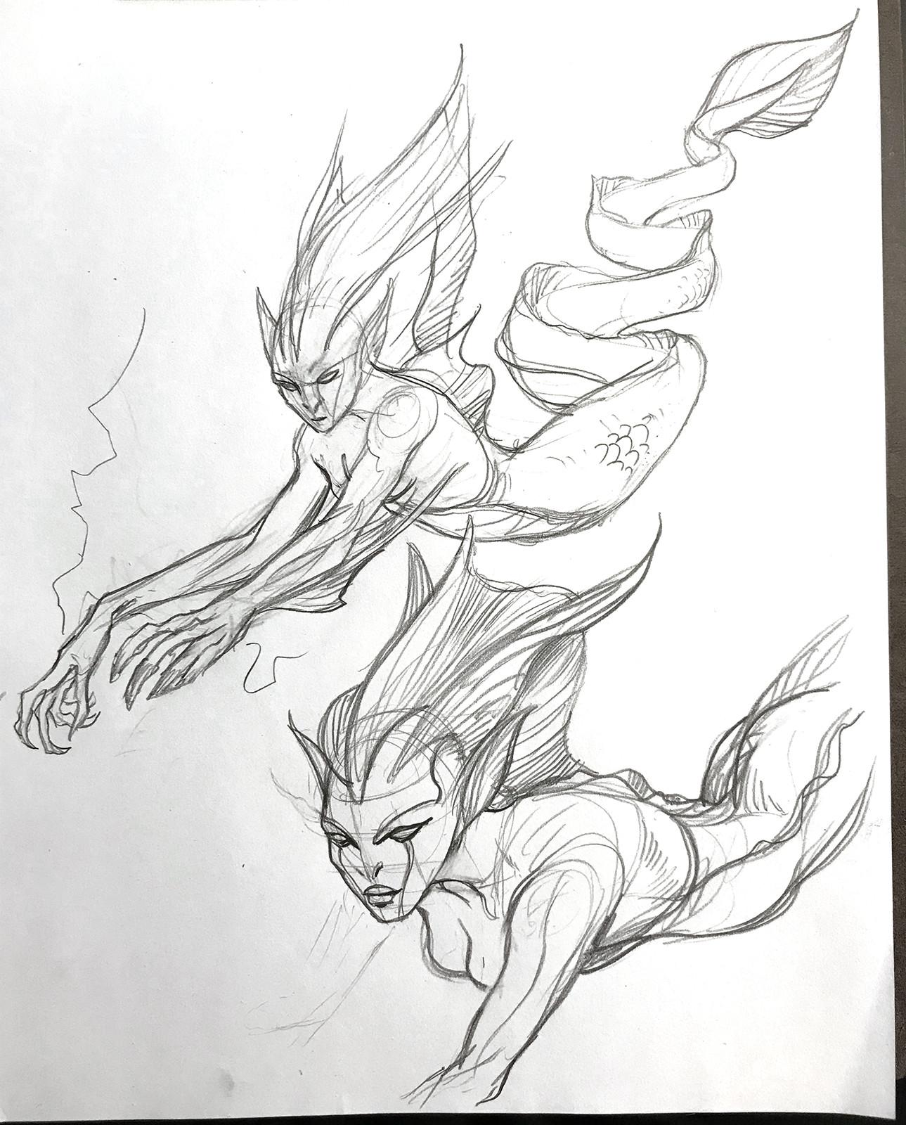 Electric Eel Mermaid sketch