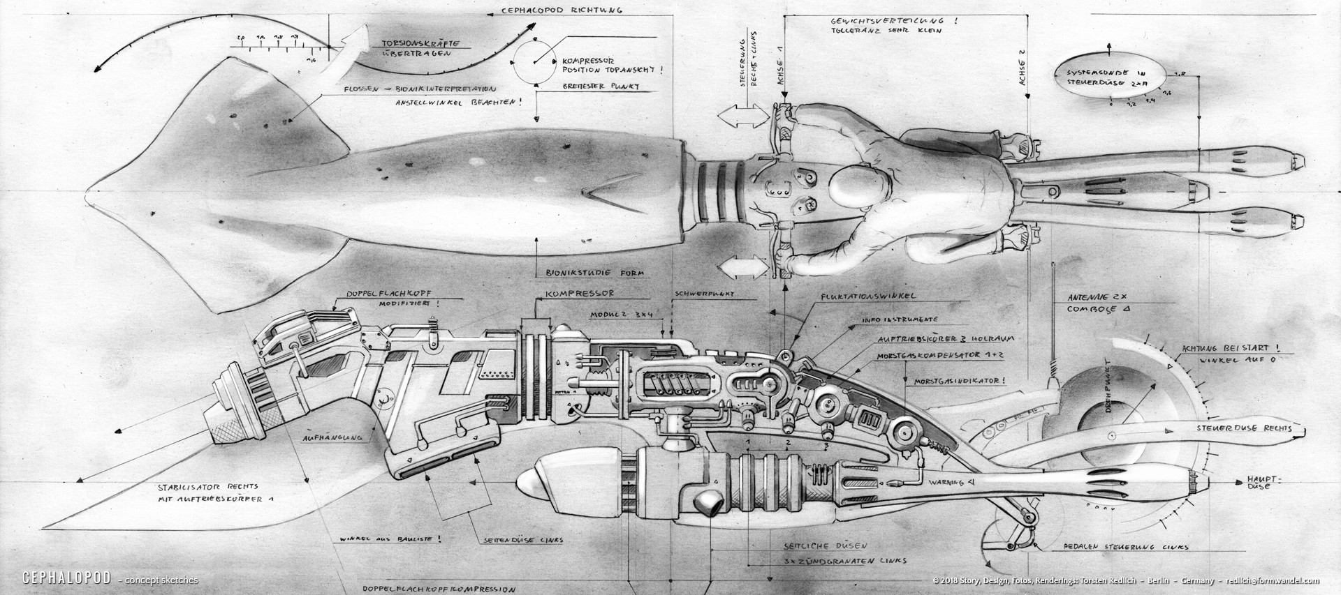CEPHALOPOD - Giant Squid - design drawings 1