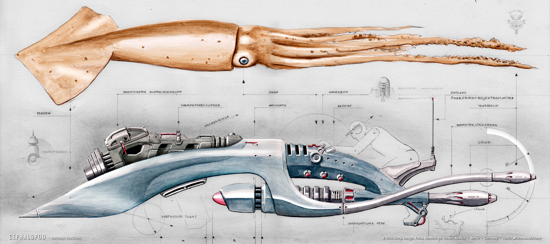 CEPHALOPOD - Giant Squid - design drawings 2