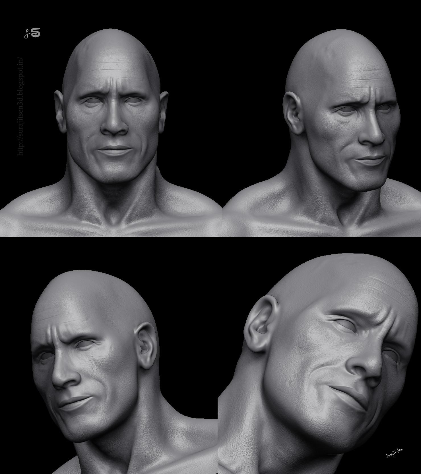 Surajit sen 3 dwayne johnson 3d porttrait sculptsshots by surajit sen