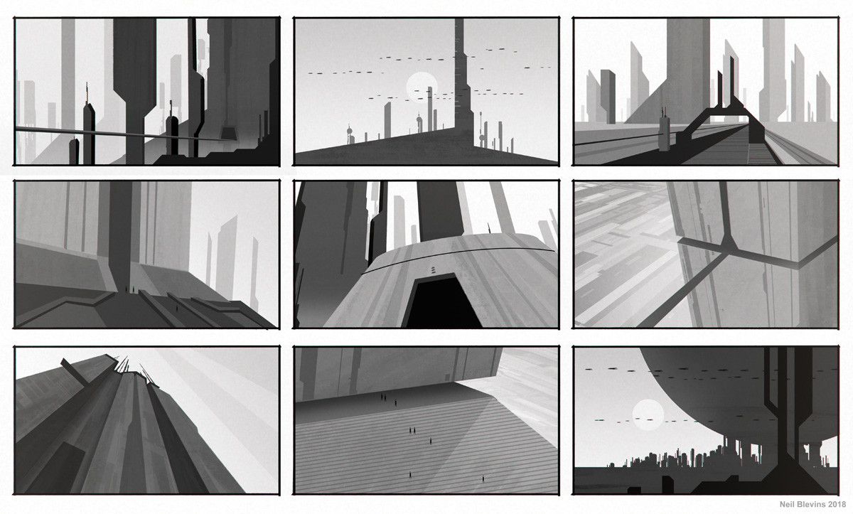 Neil blevins monolithic buildings silhouette sketch