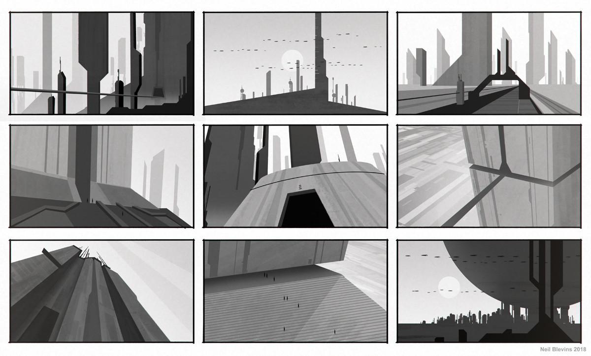 Neil blevins monolithic buildings silhouette sketch