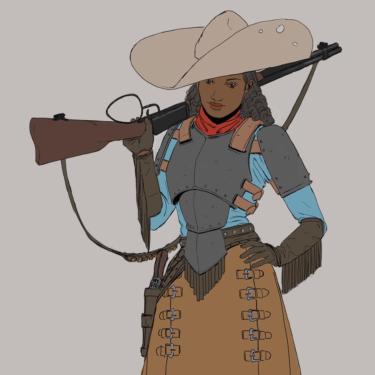 Artstation Wild West Challenge, Character Design: Arabella Mitcham (detail)