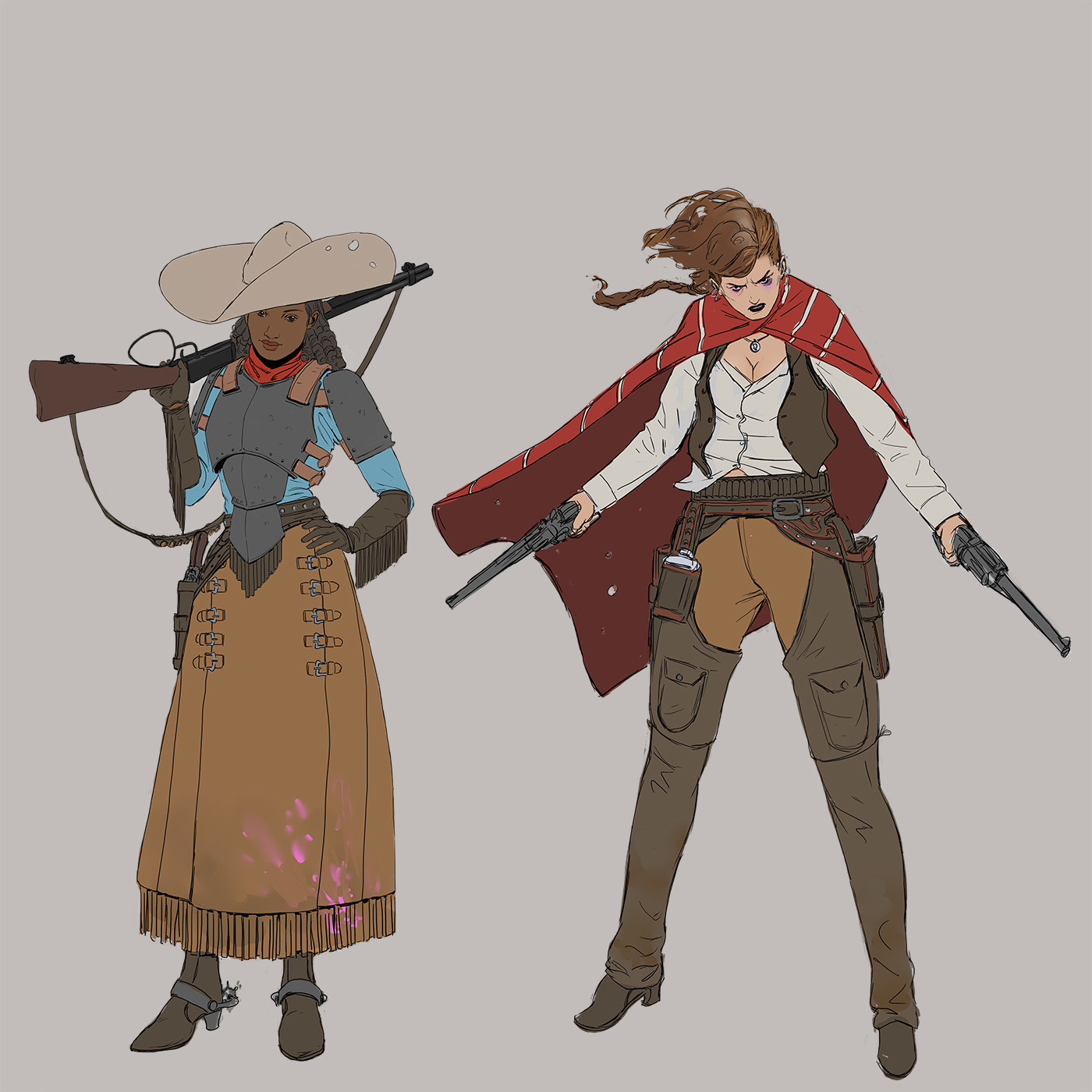 Artstation Wild West Challenge, Character Design: 'Bella and Thea Jewel