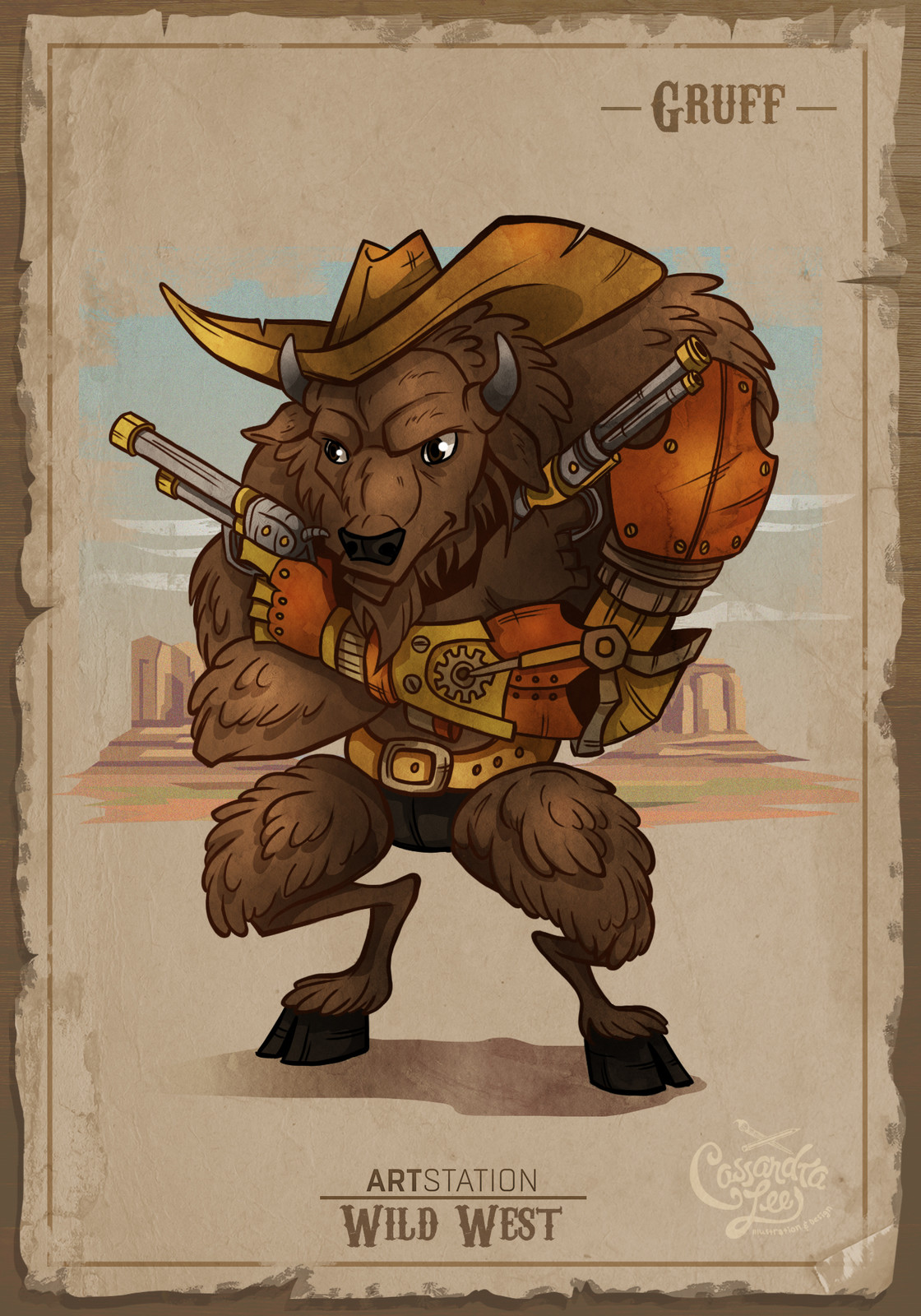 Gruff the cyborg buffalo gunslinger