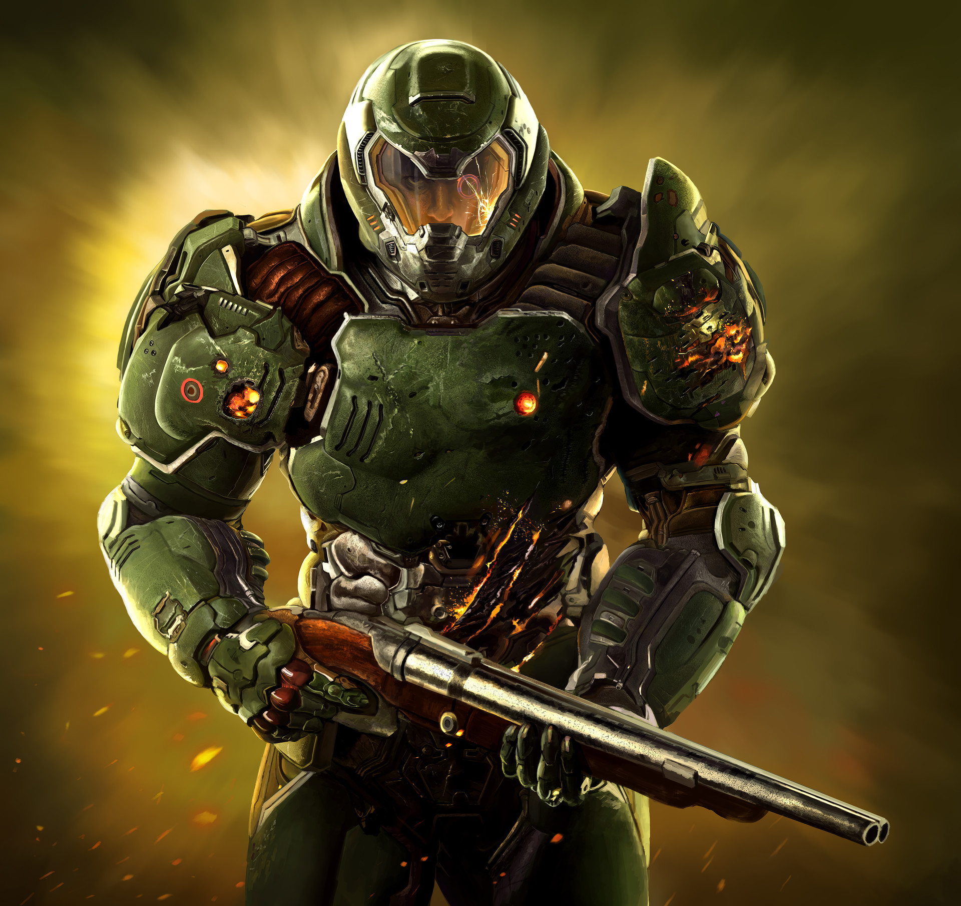 Artstation Doomguy Painting Hungry Monkey