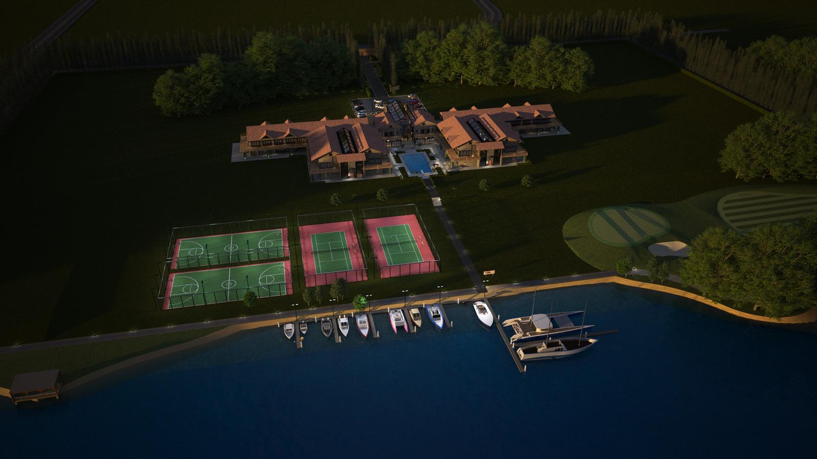 Original model from 2014 La Grange- Rivendell Resort: Lake Arial to Center NE Dusk 01 SU + Thea Render