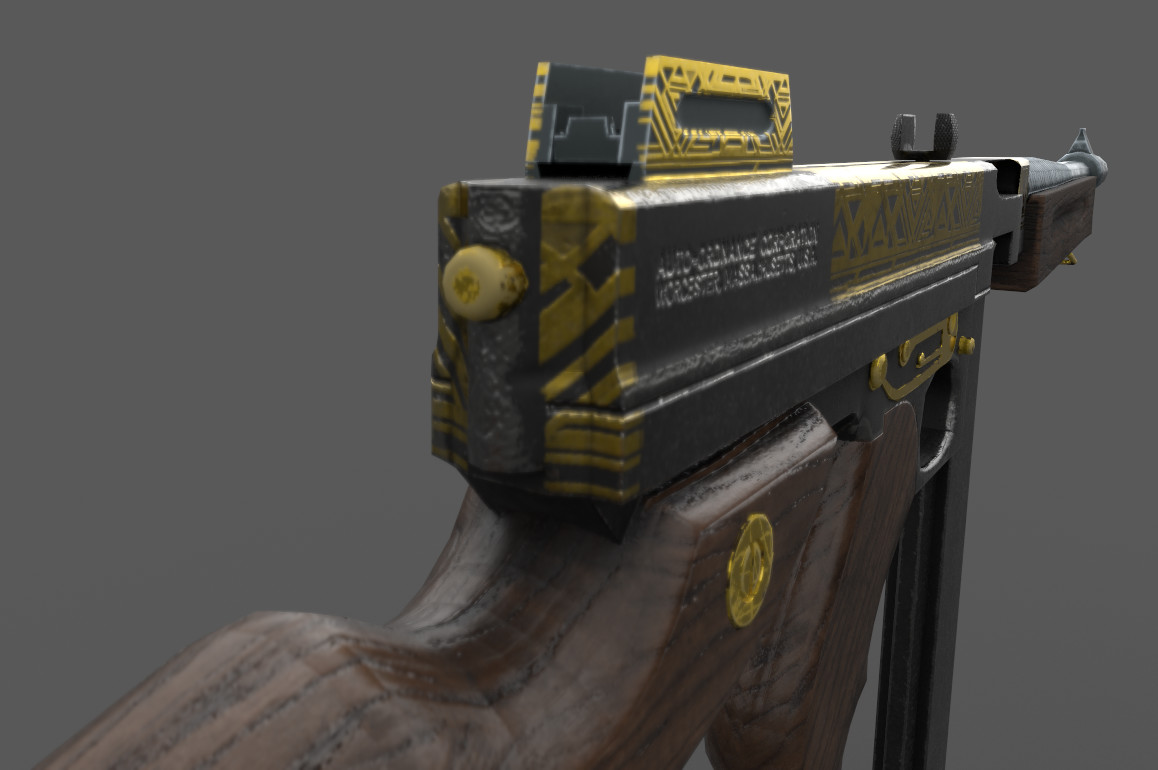 TommyGun Decorated with Prey Gold art by Fred